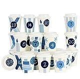 Papierdrachen Calendario de Adviento DIY en Tazas de café - para Personalizar y Rellenar - Números Azules - 24 Tazas de café para Llevar