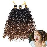 Extensión para extensiones de cabello sintético ondulado para tejer cabello rizado 3 hebras Water Wave 20cm, marrón oscuro/marrón