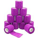 YUMAI 12 Rollos 5cm x 4.5 m Impermeable Auto-Adhesivo Vendaje Elástico Wrap Terapia Muscular Articulaciones de los Dedos para el Cuidado Del Vendaje - Purple