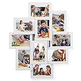 SONGMICS Marco de Fotos Collage para 10 Fotos de 10 x 15 cm, Hecho de Tableros MDF, Montaje en Pared, para Galería de Fotos, Requiere Ensamblaje, Blanco RPF20WT