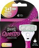 Wilkinson Sword Quattro For Women Sensitive - 3 + 1 Recambios de Cuchillas de 4 Hojas para Afeitado de Mujer, Depilación Femenina de Pieles Sensibles