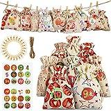 Nicole Knupfer - Calendario de Adviento para rellenar, calendario de Adviento 2020, bolsa de tela con pegatinas, para hacer Navidad (13 x 18 cm)