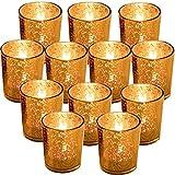 GUIFIER Juego de 12 Candelabros de Velas en Cristal Soporte para Portavelas para Velas LED de té Portavelas de Cristal Dorado 2,67'H Candelita Candelero Oro Vidrio Mercurio para Navidad Fiestas