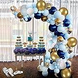 94Pcs Kit de guirnaldas con globos, APERIL Kit de arcos de globos azul blanca y dorada Confeti Lleno de globos de látex Paquete con cinta de globos para cumpleaños Decoración de banquete de boda