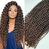 3 PAQUETES de 22'(50cm) y 100g por paquetes . Extensiones onduladas para trenzas de ganchillo, cabello de Fibra sintético, con aspecto natural. 3 PIEZAS DE (15 RAICES/100G) (1B-30 ( X 3PIEZAS))