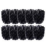Schramm 10 Pack WC Cabeza de Cepillo de Repuesto Negro Cabeza de Cepillo Negro Individualmente reemplazable Negro
