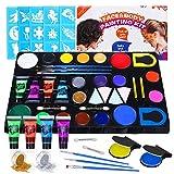 Luckyfine Kit de Pinturas Faciales y Corporales - 16 x Pinturas Corporales, 4 x Pintura luminosa, 2 x Brillos, 2 x Tinte de Pelo - Seguro y No toxico para Niños y Embarazadas-Carnaval, Pascua