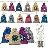 Calendario de Adviento, DIY Bolsa de Regalo,2× 24 Pegatinas Digitales, Puede ser llenado, Se Utiliza para Navideña, Bodas, Cumpleaños y Regalos