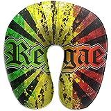 Reggae Jamaican Music Tie Dye Almohada en Forma de U Envuelva en Extremo Proporciona Ayuda de Alivio para el Dolor de Cuello de la Oficina de Viajes