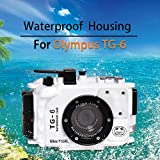 Sea frogs Cámara subacuática para Olympus TG-6 195FT/60M impermeable carcasa de buceo blanco (carcasa + filtro rojo)