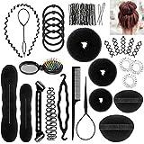 ivencase 28pcs Accesorios de Peinado, Herramientas Accesorios Hacedor Braid Cabello Trenzado Peinado Clip Herramientas para Diseño de Espuma para Niñas Mujeres con pelo DIY