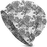 Planta Flor Primavera Temporada Nacimiento de la Naturaleza Bosquejo Monocromo Diseño Vintage Moda navideña Cálido Unisex Gorros Sombrero Cap