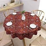 HouseLookHome Mantel de picnic de Navidad con copos de nieve adornados con espirales artísticos florales y corazones vivos patrón de tela mantel de 137 cm, redondo, color dorado y rojo