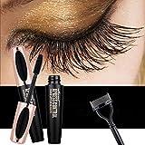 4D Silk Fiber Lash Mascara - USHION Impermeable Larga Duración Extensión Larga Pestañas Mascara con peine de Pestañas Libre Negro