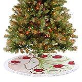 Falda de árbol de niña, perfil de amapolas con pelo floral en efecto acuarela, diseño artístico verde, tapete tradicional para árbol de Navidad para decoración de fiestas de Navidad, 76,2 cm